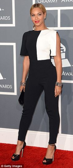 Stylish Black & White 21st century choice: The 31-year-old ditched the approved gown for an Osman crepe geometric pantsuit