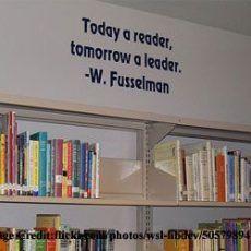 Vancouver High School Library Media Center -- Today a reader, tomorrow a leader -- W. School Library Decor, School Library Displays, Middle School Libraries, Elementary School Library, Library Themes, Library Activities, Library Ideas, Elementary Library Decorations, School Decorations