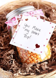 Five fast, cheap and EASY Foodie Gifts Perfect for Valentine's Day - or Any Day... including this one using Yellow Popping Corn in a Mason Jar with a Cute Tag