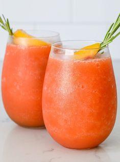 Strawberry Peach Frose – Sauced Kitchen Cold Drinks, Beverages, Peach Slices, Drink Specials, Frozen Strawberries, Elderflower, Sangria, Pinwheels, Pesto