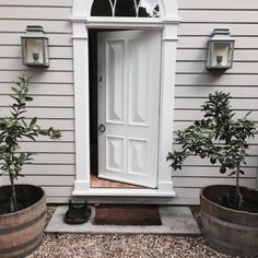 The entry of Cameron Kimber's Australian country house is painted Dulux Cashmere with the front door In Dulux Whisper