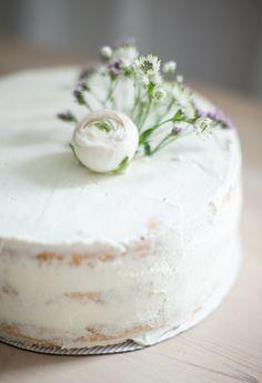 Half naked stravberry-cream birthday cake.