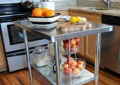 Stainless Steel Countertops Kitchen Prep Table, High Top Table Kitchen, Kitchen Work Tables, Kitchen Layout, Kitchen Cart, Kitchen Tips, Kitchen Ideas, Kitchen Island, Kitchen Design