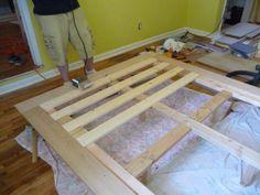 really basic Platform Bed.. put vv slats on simple frame on legs