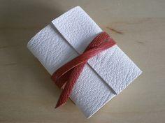 Mini Journal in Leather Goatskin - White & Tan by SusanGreenBooks, £8.00
