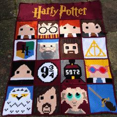 Harry Potter C2C blanket. 3 months in the making. Mostly from patterns by Crafty Ridge.