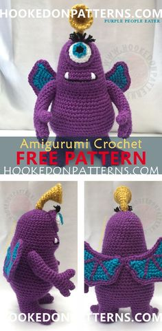 FREE AMIGURUMI CROCHET PATTERNS - Meet the Purple People Eater Monster. Crochet him for FREE with this pattern.
