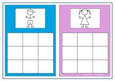 Board for the boy/girl sorting game. Find the belonging tiles on Autismespektrum on Pinterest. By Autismespektrum