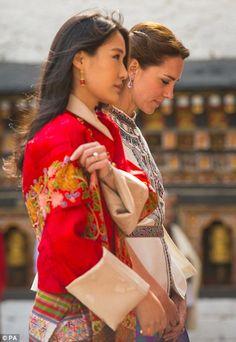 The Duchess of Cambridge with Queen of Bhutan Jetsun Pema at Tashichho Dzong