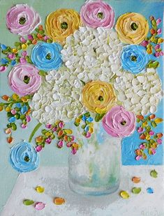 Custom PaintingWhite Hydrangea and Mixed by KenziesCottage on Etsy