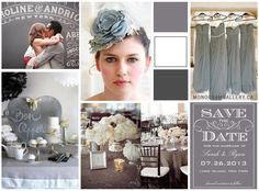 Grey White Vintage Wedding Ideas from monogramgallery.ca