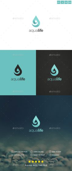 Buy Water Drop Logo by Exe-Design on GraphicRiver. Water Drop Logo, Water Logo, Logo Branding, Branding Design, Font Logo, Logo Inspiration, Aqua Logo, Environment Logo, Logo Simple