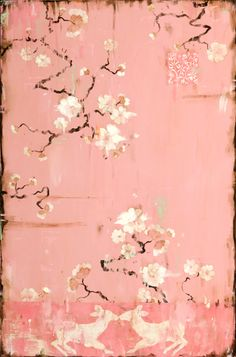 Kathe Fraga Art, www.kathefraga.com Kathe's paintings are inspired by the romance of vintage French wallpapers and Chinoiserie with a modern twist. 36x24 on frescoed canvas with Japanese gold ink and oil glaze.