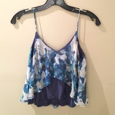 Sparkle & Fade Blue Crop Top Tank XS XS crop top tank by Sparkle and Fade from Urban Outfitters. Low back, beautiful shirt. Perfect for summer! Rayon and polyester. Urban Outfitters Tops Crop Tops