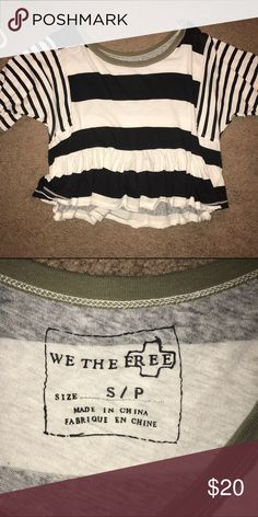 Free people top Super adorable free people shirt size small:) navy and white strips with an olive colored trim. Free People Tops Tees - Short Sleeve