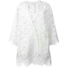 Chloé Lace Cardigan ($3,905) ❤ liked on Polyvore featuring tops, cardigans, white, three quarter sleeve cardigan, white floral cardigan, 3/4 sleeve lace top, white cardigan and open front cardigan
