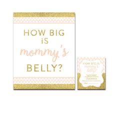 Baby Shower Peach Chevron Gold Glitter - Game How Big is Mommy's Belly - Instant Download Printable