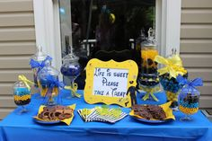 Police party candy buffet Candy bar  Black blue and yellow