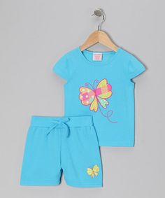 Take a look at this Blue Butterfly Tee & Shorts - Toddler & Girls by S.W.A.K. on #zulily today!