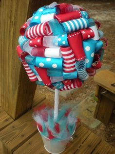 Ribbon Topiary in Dr Seuss Blue Red White -Centerpiece Idea