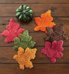 Crochet these fall colored maple leaf scrubbies using Mary Maxim Scrub It yarn.