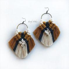 Fringe Earrings, Beaded Earrings, Crochet Earrings, Tassel Jewelry, Textile Jewelry, Statement Jewelry, Macrame Earrings Tutorial, Boho Stil, Macrame Design