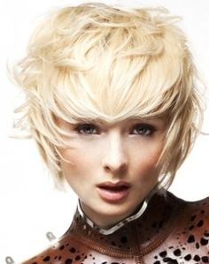 A short blonde straight coloured choppy Modern Layered Rock-Chick hairstyle by Rush