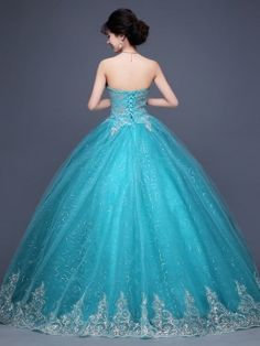 Vintage Sweetheart Appliques Beaded Lace-Up Ball Gown Dress