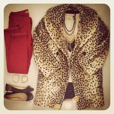 Leopard coat and red jeans