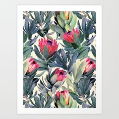 Buy Painted Protea Pattern Art Print by micklyn. Worldwide shipping available at Society6.com. Just one of millions of high quality products available.