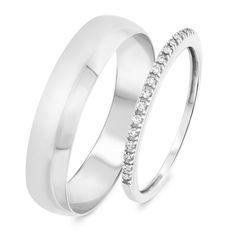 LOVE LOVE LOVE this #matchingringset from @MyTrioRings This 1/10 Carat T.W. Diamond His and Hers Wedding Band Set is made in 14K White Gold and has 16 Round cut natural, conflict free diamonds.