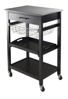 Details Julia Kitchen Cart brings a modern style to your kitchen with a granite top which is easy to clean and also provides many uses. Below the drawer is a slide out metal basket, a removable servin