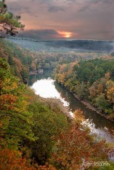 Fall on the Mulberry River, Arkansas. This river is a nationally designated Wild and Scenic River. Prime water for canoeing, fishing and camping..