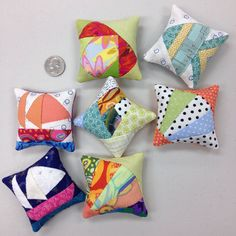 Some more little pincushions I made on a quilt retreat this weekend