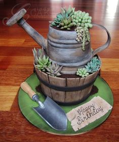 {Great Gardening cake with a nice Trowel by Cindy& Cake Creations} Pretty Cakes, Cute Cakes, Beautiful Cakes, Amazing Cakes, Crazy Cakes, Unique Cakes, Creative Cakes, Fondant Cakes, Cupcake Cakes