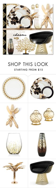 """G o l d e n Glow Charm - Dining"" by nonniekiss ❤ liked on Polyvore featuring interior, interiors, interior design, home, home decor, interior decorating, Lenox, One Hundred 80 Degrees, Oscar de la Renta and American Atelier"