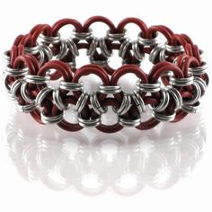 Red and Silver Japanese 12 in 2 Stretchy Bracelet