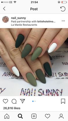 Best Acrylic Nails, Matte Nails, Matte Olive Green Nails, Acylic Nails, Fire Nails, Dream Nails, Stylish Nails, Almond Nails, Nail Manicure