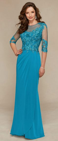 Elegant Chiffon Bateau Neckline Floor-length Mother of the Bride Dresses with Beaded Lace Appliques