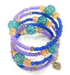 Purple Beaded Coil Bracelet Women's Bracelet by RandRsWristCandy $14
