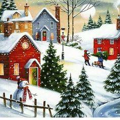 christmas scenes to paint Christmas Neighbor, Christmas Past, Winter Christmas, Christmas Christmas, Christmas Drawing, Christmas Paintings, Christmas Scenes, Christmas Pictures, Vintage Christmas Cards