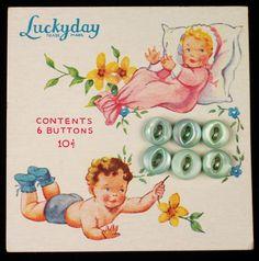 ButtonArtMuseum.com - Antique Tiny Baby Aqua Pearl MOP Buttons ON Original Color Graphic Store Card
