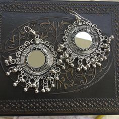 Mirror earrings OMG so pretty Indian Jewelry Earrings, Indian Wedding Jewelry, Tribal Jewelry, Beaded Earrings, Jewelery, Silver Jewelry, Silver Earrings, Stylish Jewelry, Cute Jewelry
