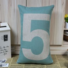 50x30cm Lucky Number Five No.5 Digit Character Light Blue Pillow Cases. $16.00, via Etsy.