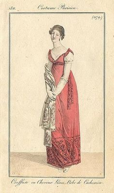 Costume Parisien 1811. This could easily be recreated with an Indian silk sari.
