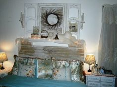 SHABBY CHIC HEADBOARD, COULDN'T AFFORD A NEW BED SO MADE MY OWN HEADBOARD