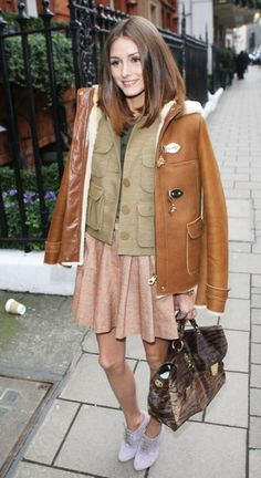 the layers and the shoes ... very well put ! Olivia Palermo