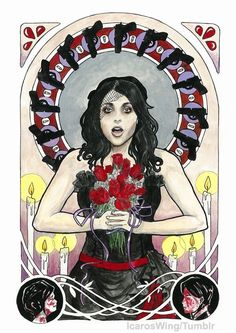 """MCR - Helena inspired Art Nouveau"" - anonymous artist. (I want a print of this -- if anyone knows the artist or if they have a shop/deviantart)"