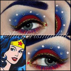 Awesome for my Wonder Woman Halloween costume. Wonder Woman Birthday, Wonder Woman Party, Halloween Make Up, Halloween Face Makeup, Halloween Costumes, Easy Costumes, Costume Makeup, Party Makeup, Makeup Eye Looks
