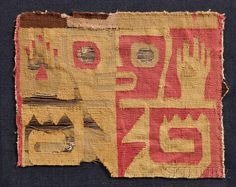 Huari Pre-Columbian Polychrome Textile Fragment, depicting an abstract human with raised hands, mounted on cloth, 7 x 5 3/4 in.